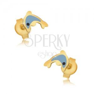 Arany fülbevaló - fénymázas kék delfin, fényes sima felszín