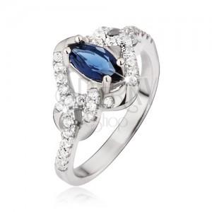Gyűrű 925 ezüstből, kék szem alakú cirkónia, csomók
