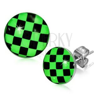 Fülbevaló acélból, zöld-fekete sakktábla