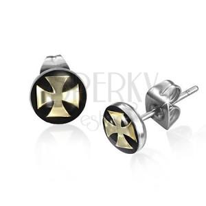 Beszúrós acél fülbevaló, arany színű máltai kereszt