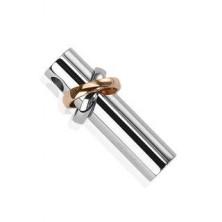 Medál sebészeti acélból - henger két körrel ezüst és réz színben
