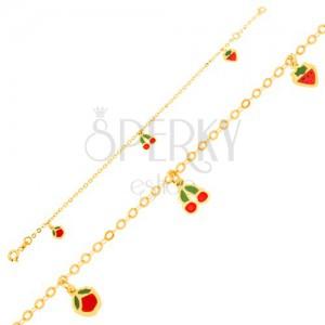 Karkötő 9K aranyból, lánc, fénymázas eper, cseresznye, alma