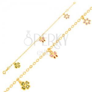 Arany karkötő - fénymázas négy levél, lepke, virág, fényes lánc