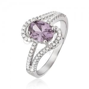 Ezüst gyűrű, lila ovális cirkónia, szétágazó hullámos szárak