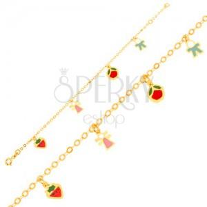 Karkötő 9K sárga aranyból, lánc, eper, kislány, alma, kisfiú