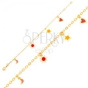 Arany karkötő, hold, virág, csillag, szív, fényes lánc
