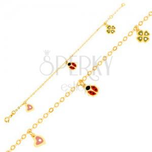 Karkötő 9K sárga aranyból - lánc, fénymázas szív, katica, négy levél