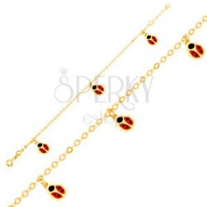 Arany karkötő - fényes lánc, piros-fekete fénymázas katica