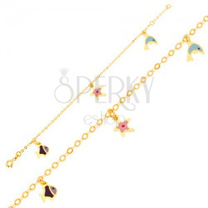 Karkötő 9K sárga aranyból - fénymázas delfin, tengeri csillag, halacska, fényes lánc