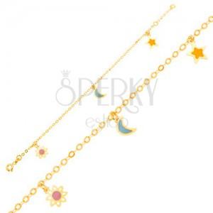 Arany karkötő - lánc, fénymázas fehér-rózsaszín virág, hold, csillag