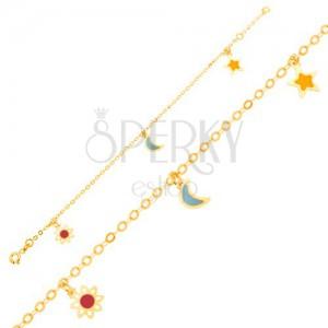 Karkötő 9K sárga aranyból - fehér-piros virág, hold, csillag, lánc