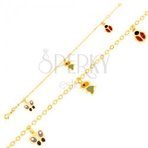 Arany karkötő - csillogó lánc, fénymázas lepke, madár és katica