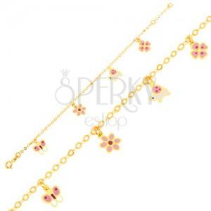 Karkötő 9K sárga aranyból - lepke, virág, teknősbéka, négy levél, lánc