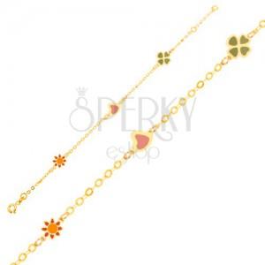 Karkötő 9K sárga aranyból - fénymázas virág, szív és négy levél, lánc
