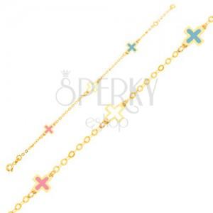 Arany karkötő - fényes mázas színes keresztek, vékony lánc