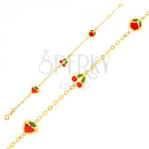Arany karkötő - fénymázas eper, cseresznye, alma és fényes lánc