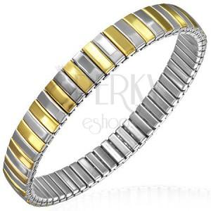 Flexibilis acél karkötő, arany és ezüst színű elemek