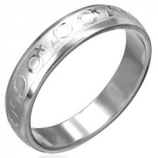 Acél gyűrű - fényes férfi és női szimbólumok
