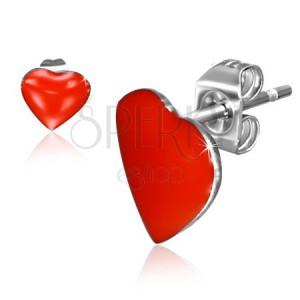 Beszúrós fülbevaló acélból, piros szimmetrikus szívek