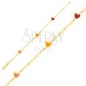 Karkötő 9K sárga aranyból - színes fénymázas szívek, csillogó lánc