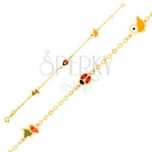 Arany karkötő - madarak és katica fénymázas felszínnel, fényes lánc