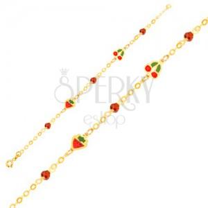 Karkötő 9K sárga aranyból - lánc, fénymázas eper, cseresznye, golyók