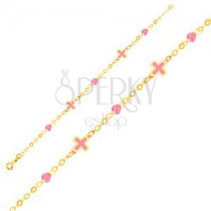 Arany karkötő - rózsaszín fénymázas keresztek, üveggolyók, lánc