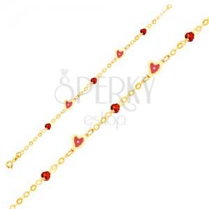 Arany karkötő - lánc, piros fénymázas szívek, üveggolyók