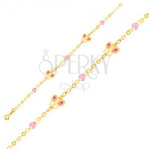 Arany karkötő - fényes lánc, fénymázas lepke, üveggolyók