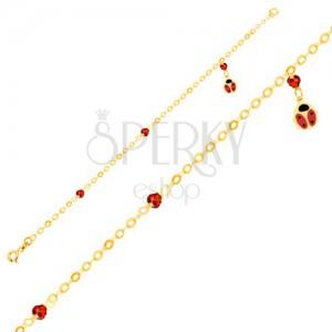 Karkötő 9K sárga aranyból, csillogó lánc, fénymázas katica, golyók