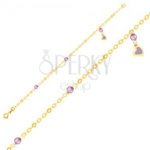 Arany karkötő- fénymázas szív, üveggolyók, lánc
