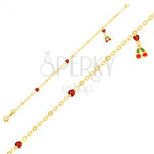 Arany karkötő - fénymázas cseresznye, csillogó golyók a fényes láncon