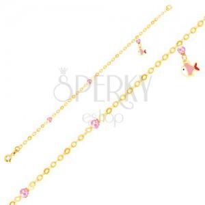 Karkötő 9K aranyból - fénymázas halacska, rózsaszín golyók, fényes lánc