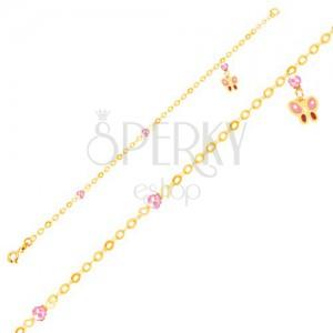 Arany karkötő - rózsaszín-piros lepke és üveggolyók, lánc