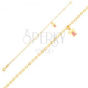 Arany karkötő - kislány bábu fénymázzal a csillogó láncon