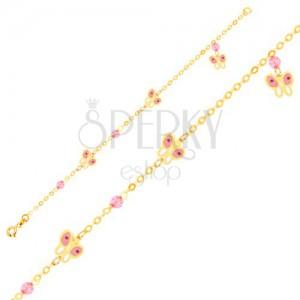 Arany karkötő - rózsaszín-fehér lepke és üveggolyók lánc