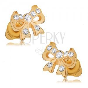 Fényes beszúrós fülbevaló arany színben, masni kövekkel