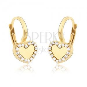 Arany fülbevaló - szabályos fényes szív, cirkóniás körvonal