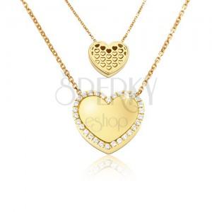 Arany nyaklánc - tükörfényű szabályos szív, szív kivágások, cirkóniák