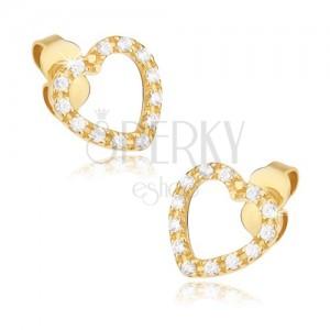 Arany fülbevaló - szabályos szívkörvonal átlátszó kövekkel díszítve