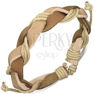 Fonott karkötő barna bőrsávokból és bézs zsinórokból