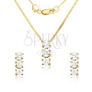 Szett 14K aranyból - fülbevaló és medál, három átlátszó cirkónia a fényes foglalatban
