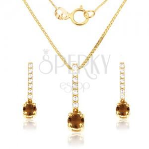 14K arany szett - fülbevaló és medál, cirkóniás sáv, füsttopáz kő