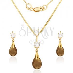Arany szett - fülbevaló és medál, csiszolt könnycsepp kő-füsttopáz