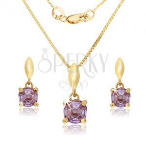 Arany szett - fülbevaló és medál, kerek lila színű ametiszt a fényes foglalatban