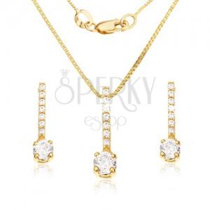 14K arany szett - fülbevaló és medál, cirkóniás sáv, átlátszó kő
