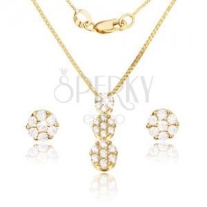 Arany szett - fülbevaló és medál, fényes kerek foglalatok, apró átlátszó cirkóniák