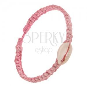 Rózsaszín zsinóros fonat, ovális kagyló