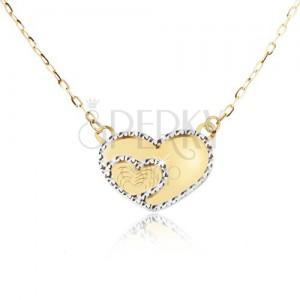 Arany nyaklánc - tükörfényű szabályos szív, díszített gravírozás