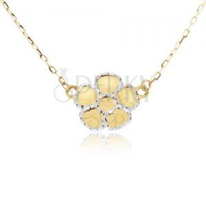 14K sárga arany nyaklánc - lapos gravírozott cseresznyevirág láncon